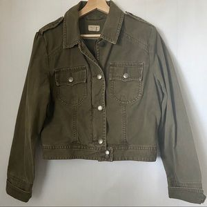 AEO Military Crop Green Canvas ZIPButton Up Jacket